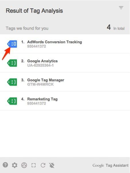 צילום מסך של תוסף tag assistant