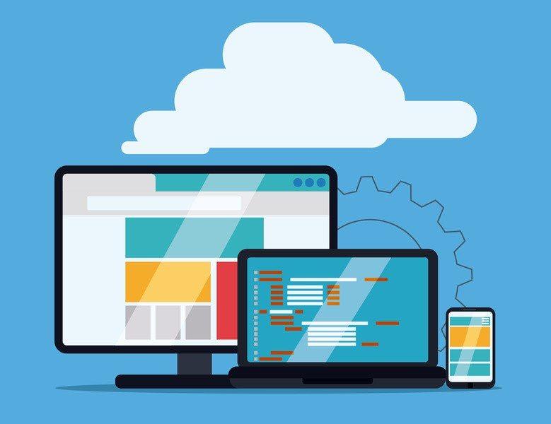 Web design over blue background, vector illustration.