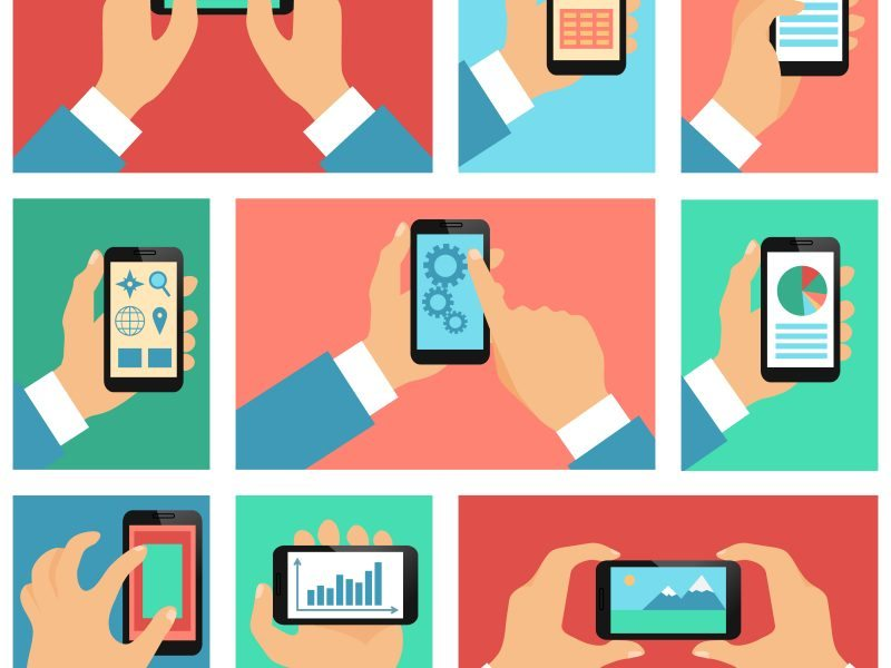 Collection of hands using mobile phone with business apps and social media content isolated vector illustration