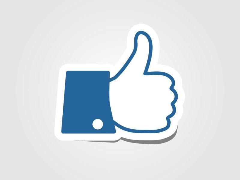 blue facebook symbol of like